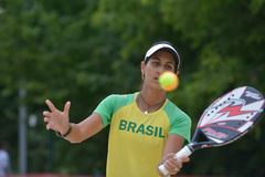Joana Cortez on the Beach Tennis World Team Championship Stock Images