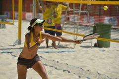 Joana Cortez på strandtennisvärlden Team Championship Fotografering för Bildbyråer