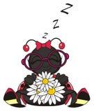 Joaninha que dorme com flores ilustração stock