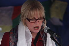 Joanna Lumley Speaks for Tibet. Joanna Lumley, actress, speaks at a protest in support of China heckling the demonstration in support of a free Tibet; Olympic Royalty Free Stock Images