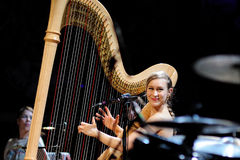 Joanna Newsom, harp player and singer, performs at Palau de la Musica Catalana Stock Photos