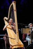 Joanna Newsom wykonuje przy Palau De Los angeles Musica (harfa piosenkarz i gracz) Fotografia Royalty Free