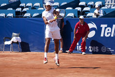 Joao Souza -1. BELGRADE-MAY 1:Serbia Open 2012. 1st Round:Ryan Harrison(USA) vs Joao Souza (BRA) , Player Joao Souza return a ball. Joao Souza won 2:0. On May 1 stock photos