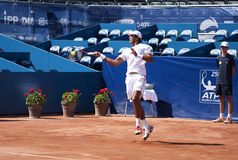 Joao Souza -2. BELGRADE-MAY 1:Serbia Open 2012.1st Round:Ryan Harrison(USA) vs Joao Souza (BRA) ,Player Joao Souza return a ball.Joao Souza won 2:0.On May 1 royalty free stock photos
