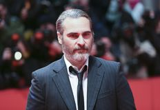 Joaquin Phoenix attends the `Don`t Worry, He Won`t Get Far on Fo. Ot` premiere during the 68th  Film Festival Berlin at Berlinale Palast on February 20, 2018 in Stock Image