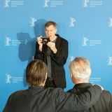 Joaquin Phoenix, Gus Van Sant and Udo Kier during Berlinale 2018 royalty free stock images