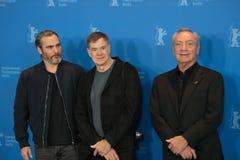 Joaquin Phoenix, Gus Van Sant and Udo Kier during Berlinale 2018 stock photo