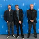 Joaquin Phoenix, Gus Van Sant and Udo Kier during Berlinale 2018 royalty free stock photo