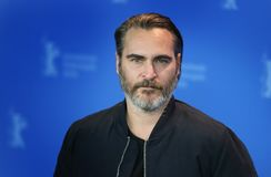 Joaquin Phoenix poses at the `Don`t Worry, He Won`t Get Far on F. Oot` photo call during the 68th Berlinale Film Festival Berlin at Hyatt Hotel on February 20 Stock Photos