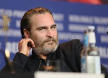 Joaquin Phoenix is seen at the `Don`t Worry, He Won`t Get Far on. Foot` press conference during the 68th Film Festival Berlin at Hyatt Hotel on February 20 Stock Photos