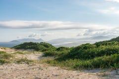 Joaquina海滩在弗洛里亚诺波利斯,圣卡塔琳娜州,巴西 免版税图库摄影