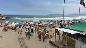 Joaquina beach in Florianopolis, Brazil stock video footage
