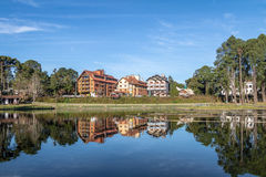 Joaquina Rita Bier jezioro i kwadrat - Gramado, rio grande robi Sul, Brazylia obraz royalty free