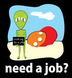 Job. Alien crashed and looking for work, vector Stock Image