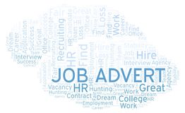 Job Advert word cloud. Wordcloud made with text only royalty free illustration