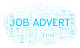 Job Advert word cloud. Wordcloud made with text only stock illustration
