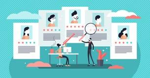 Job agency vector illustration. Tiny employee headhunters persons concept. Job agency vector illustration. Flat tiny employee headhunters persons concept royalty free illustration