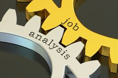 Job analysis concept on the gearwheels, 3D rendering Stock Image
