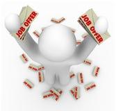 Job-Angebote - Mann mit vielen Job-Angebot-Zeichen Lizenzfreie Stockfotos