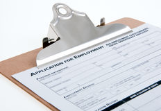 Job Appication. Close-up on  clipboard Royalty Free Stock Photo