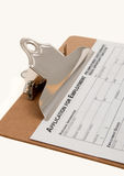 Job Appication Form. On clipboard Royalty Free Stock Photos
