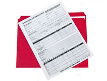 Job Appication Form. On clipboard Royalty Free Stock Images