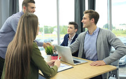 Job applicant having interview. Handshake while job interviewing. Stock Images