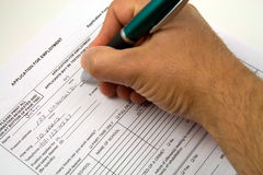 Job application. A general employment application being filled out Stock Image