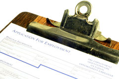 Job Application. This is an image of a job application in a clipboard royalty free stock images