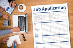 JOB Application Applicant Filling Up der on-line-Beruf Appl Stockfoto