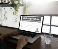 JOB Application Applicant Filling Up der on-line-Beruf Appl Lizenzfreie Stockbilder