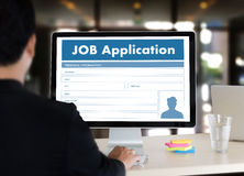 JOB Application Applicant Filling Up der on-line-Beruf Appl Lizenzfreies Stockbild
