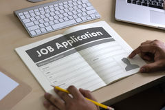 JOB Application Applicant Filling Up der on-line-Beruf Appl Lizenzfreie Stockfotografie
