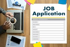 JOB Application Applicant Filling Up het Online Beroep Appl Stock Foto's