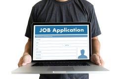 JOB Application Applicant Filling Up het Online Beroep Appl Royalty-vrije Stock Foto