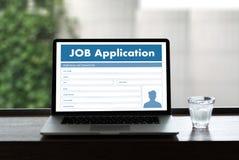 JOB Application Applicant Filling Up het Online Beroep Appl Stock Fotografie