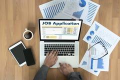 JOB Application Applicant Filling Up la profesión en línea Appl Imagenes de archivo