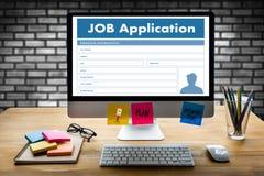 JOB Application Applicant Filling Up la profesión en línea Appl Fotografía de archivo