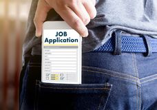 JOB Application Applicant Filling Up la profession en ligne APPL Photographie stock