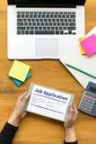 JOB Application Applicant Filling Up la profession en ligne APPL Images stock