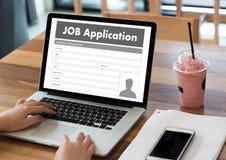 JOB Application Applicant Filling Up la profession en ligne APPL Photo libre de droits