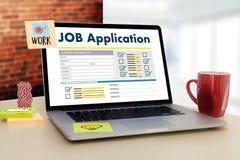 JOB Application Applicant Filling Up la professione online Appl Immagine Stock Libera da Diritti