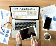 JOB Application Applicant Filling Up la professione online Appl Fotografie Stock Libere da Diritti