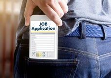 JOB Application Applicant Filling Up la professione online Appl Fotografia Stock