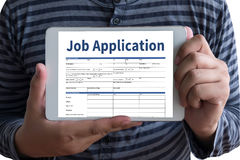 JOB Application Applicant Filling Up la professione online Appl Fotografia Stock Libera da Diritti