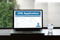 JOB Application Applicant Filling Up la professione online Appl Fotografia Stock