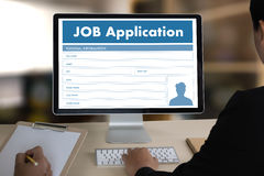 JOB Application Applicant Filling Up the Online  Profession Appl. Y Hiring Royalty Free Stock Photos