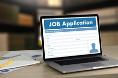 JOB Application Applicant Filling Up the Online  Profession Appl. Y Hiring Royalty Free Stock Images