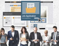 Job Application Apply Hiring Human-Betriebsmittel-Konzept stockbild