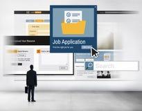 Job Application Apply Hiring Human van middelen voorziet Concept stock foto